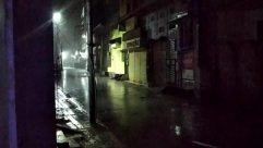 Person,Nature,Path,Pedestrian,Road,Building,City,Urban,Town,Street,Walkway,Lighting,Outdoors,Light,Metropolis,rain,rainfall,cyclone,storm,thunderstorm,ghost,scary,night,street light