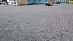Road, Person, Asphalt, Footwear, Shoe, Tar, Heel, Pants, Transportation, feet walking