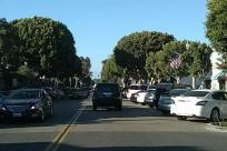 main street, trees, Road, Automobile, Car, Vehicle, Town, Street, Building, City, Urban, Parking, Parking Lot, Plant