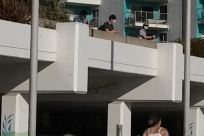 Balcony, Concrete, Building, Housing, Shorts, People