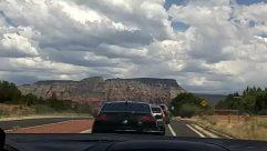 Road, Automobile, Car, Vehicle, Weather, Freeway, Highway, Sky, Cloud, Cumulus, Mesa, Azure Sky, Land, Mountain, Plateau
