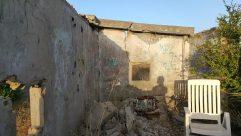 Chair, Furniture, Building, Bunker, Wood, Slate, Wall, Flagstone, Art, Painting, Rock, Lumber, Ruins, Mural, Rubble