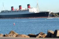 Boat, Vehicle, Watercraft, Ship, Cruise Ship, Steamer, Water, Building, Waterfront, Dock, Harbor, Pier, queen mary