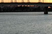 Vessel, Vehicle, Watercraft, Building, Bridge, Water, Waterfront, Boat, Arch, Arched, Arch Bridge, Port, Dock, Harbor, Pier