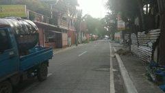 Building, Road, Town, Street, City, Truck, Vehicle, Neighborhood, Alleyway, Alley, Suburb, Pet, Cat, Path, Wheel