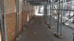 Corridor, Porch, Patio, Flooring, Pergola, Wood, Floor, Plywood, Concrete, Room, Road, Building, City, Street, Town