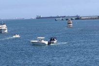 Vehicle, Boat, Yacht, Military, Water, Ocean, Sea, Watercraft, Vessel, Playing Baseball or Softball, Vegetation, Plant, Navy, Aircraft, Ship