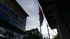 Flag, Symbol, Billboard, Road, Text, Vehicle, Building, indonesian flag