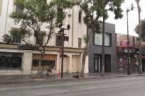Building, Street, Road, City, Town, Neighborhood, Automobile, Vehicle, Car, High Rise, Condo, Housing, Apartment Building, Sedan, Shop