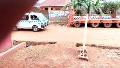 Truck, Vehicle, Van, Bus, Minibus, Wheel, Soil, Car, Automobile, Building, Ground, Plant, Play Area, Playground, Tree