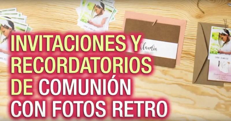 ¡Invitaciones y recordatorios de Comunión con fotos retro!