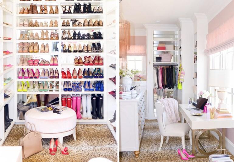 dream master closet inspiration white creative shelving rug carpet jewelry purses desk makeup drawers lighting