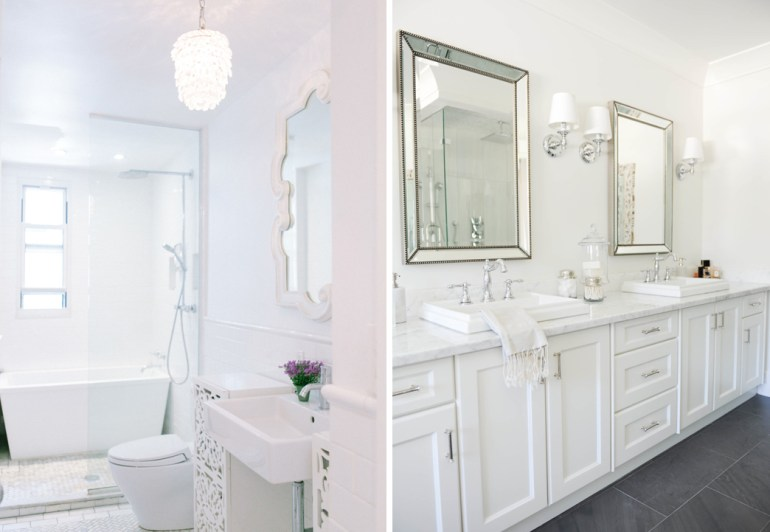 White Modern Quartz Natural Light Bathroom Master Calcutta Gold Chandelier Shelves Storage His Hers Mirrors