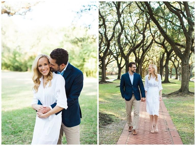 Romantic Houston Engagement Photos at Boulevard Oaks in West U