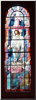 Stained glass window from the inside