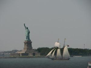 Statue of liberty and sailboat