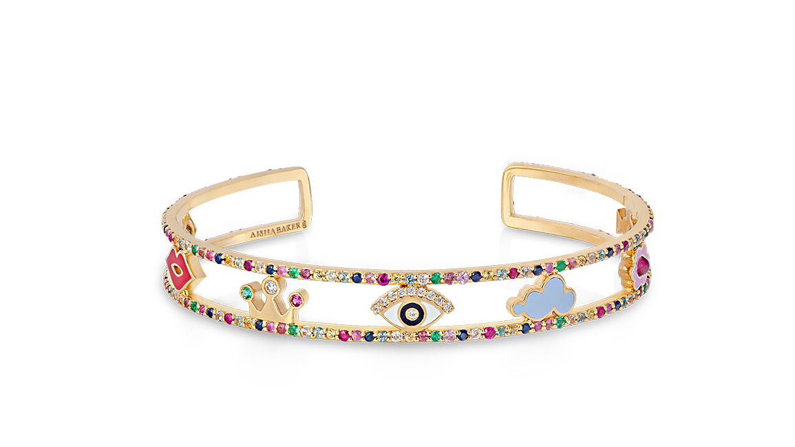 A Charmed Life Bracelet by Simone in 18K Yellow Gold with Enamel, Diamonds, Baby Blue, Pink and Yellow Sapphires, Aquamarine, Emerald and Tourmaline ($5,600)