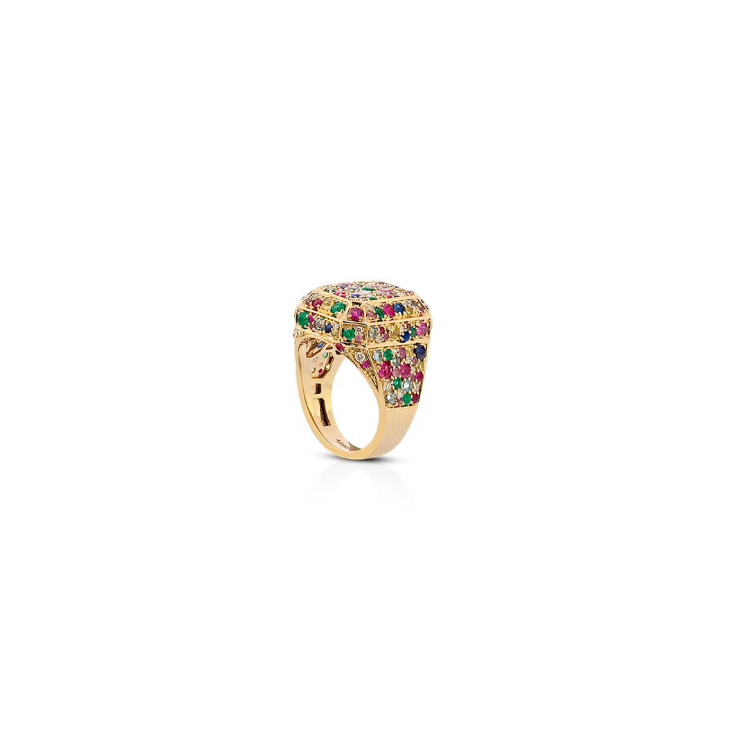 Disco Yellow Gold Ring by Aisha baker in 18K Yellow Gold with Diamonds, Emerald, Ruby, Multi-colour Sapphires, Aquamarine and Tourmaline ($5,400).