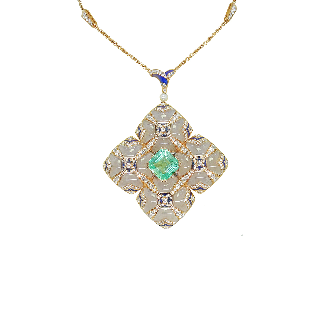 La Sagrada by Simone in 18K Rose Gold with Emerald, Chalcedon, Diamonds, Pearl and Blue Enamel ($34,745)