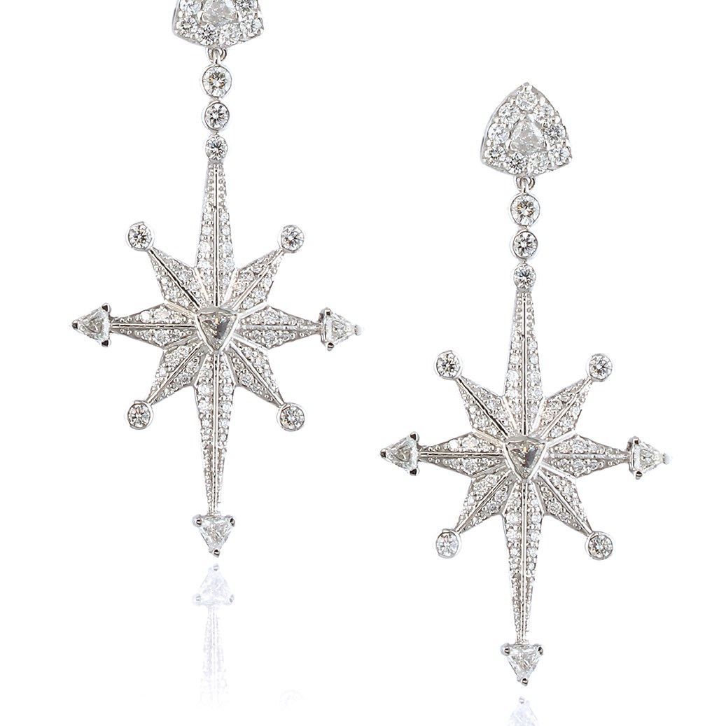 Star Earrings by Alessa Jewelry in 18K White Gold with Diamonds ($9,995).