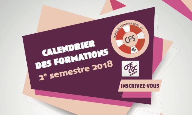 Centre de Formation Syndicale (CFS) : Calendrier des formations du Second semestre 2018