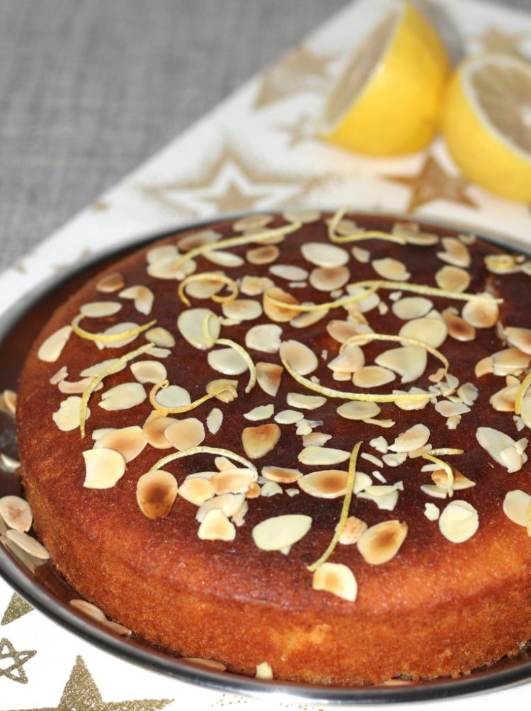Almond lemon syrup cake