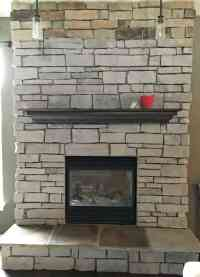 Day 1 progress update: Painting our stone fireplace ...