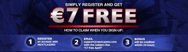 NextCasino - 7 Euro Free - No Deposit