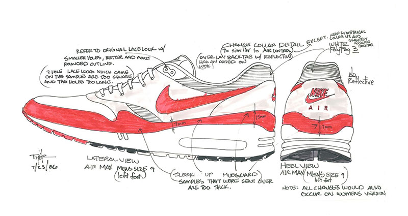 Nike Air Max 1 OG vázlat