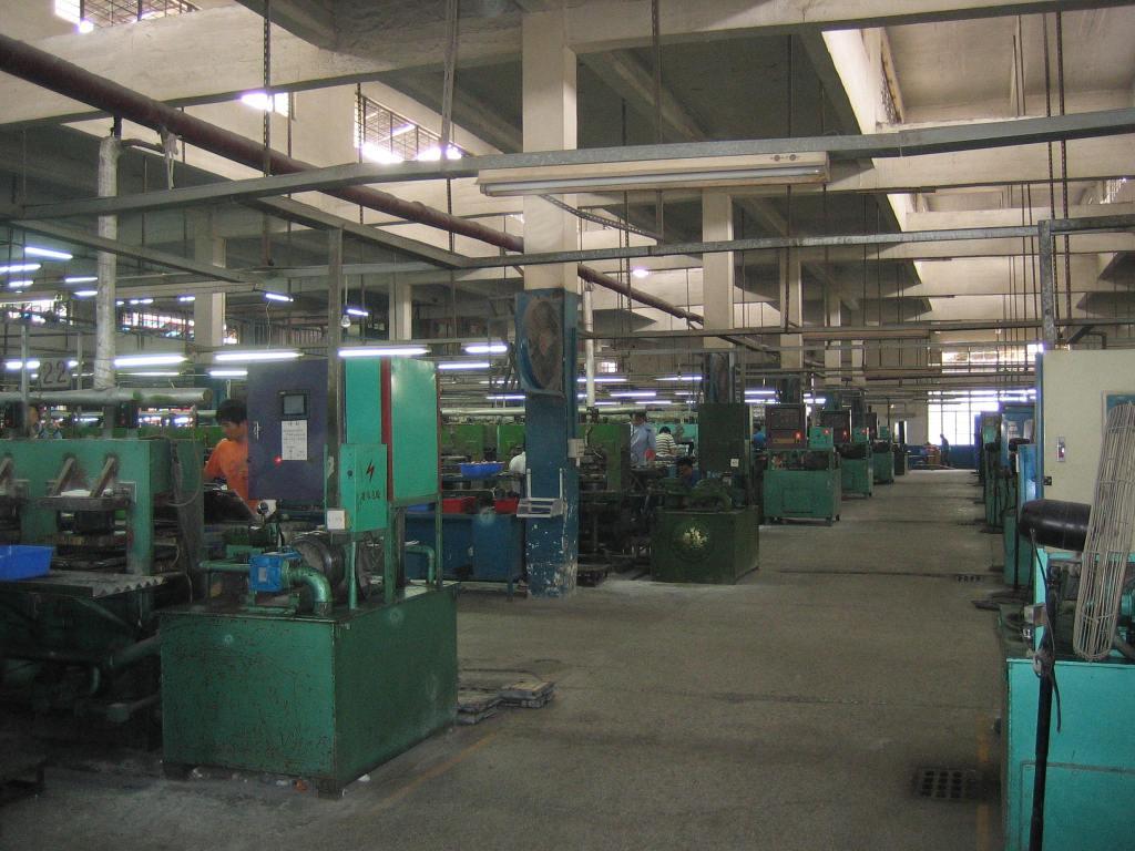 A bank of outsole presses