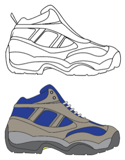 How to draw shoes - Clean up your lines add some color