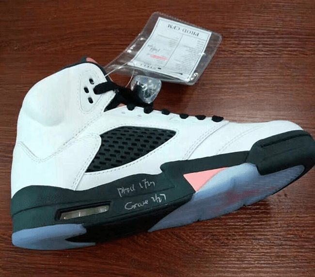 Air Jordan 5 White Black Pink