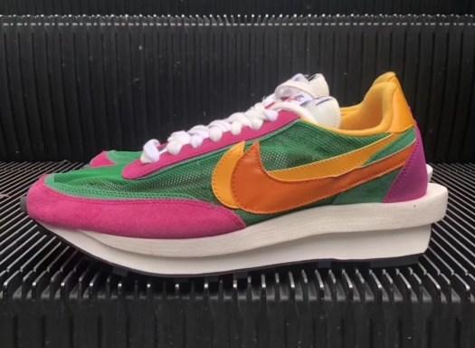 Sacai Nike LDV Waffle Green Pink Yellow BV0073-301 Release Info