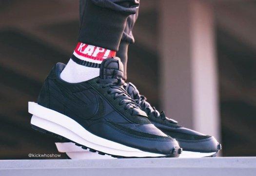 sacai Nike LDWaffle Black Nylon Suede On Feet