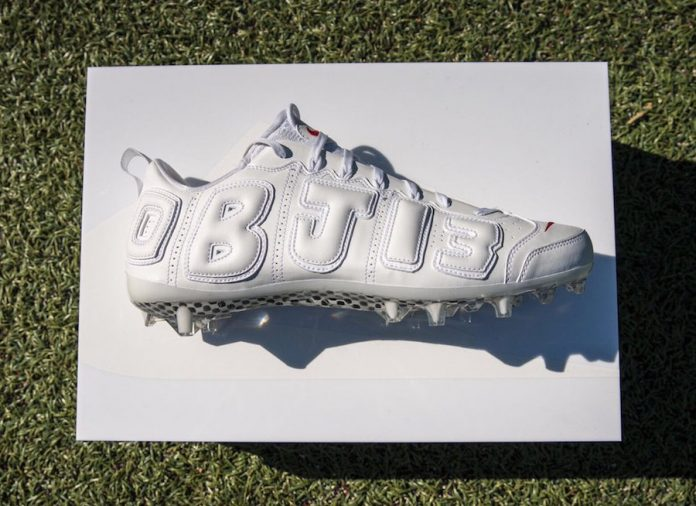 Odell Beckham Jr. Gives Us A Look At His White Nike Air More Uptempo OBJ 13 Cleat!