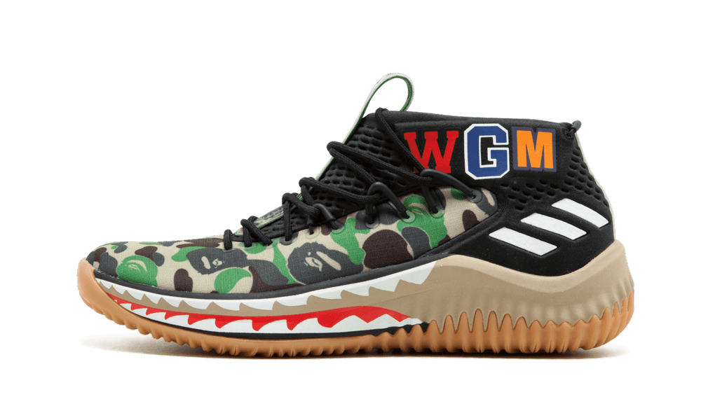 Adidas DAME4 BAPE 'Green Shark ABC Camo' Shoes - Size 10