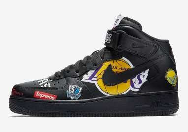 Supreme x Nike Air Force 1 Mid '07 NBA Logos Black