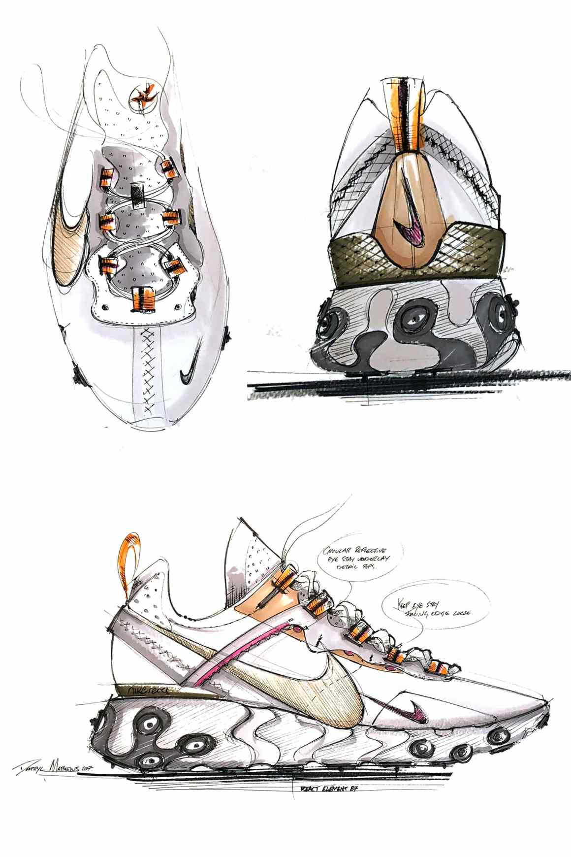 Des croquis de la Nike React Element 87