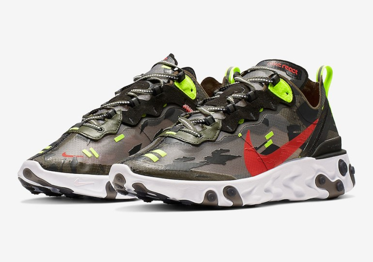 Nike React Element 87 - Medium Olive/Black/Volt-Bright Crimson