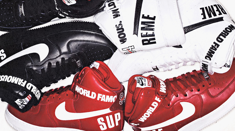 on sale c0d1b 89752 SUPREME x Nike Air Force 1 High   World Famous   Pack