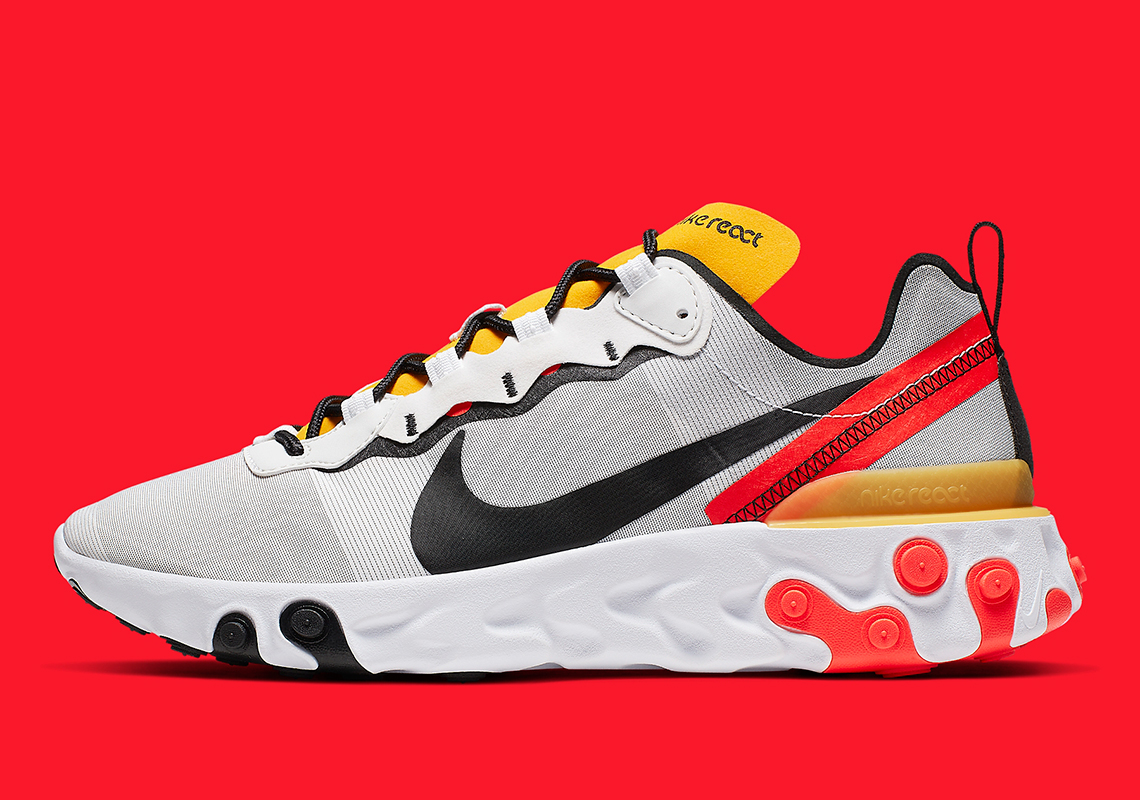 Nike React Element 55 ''White/Black-Bright Crimson''