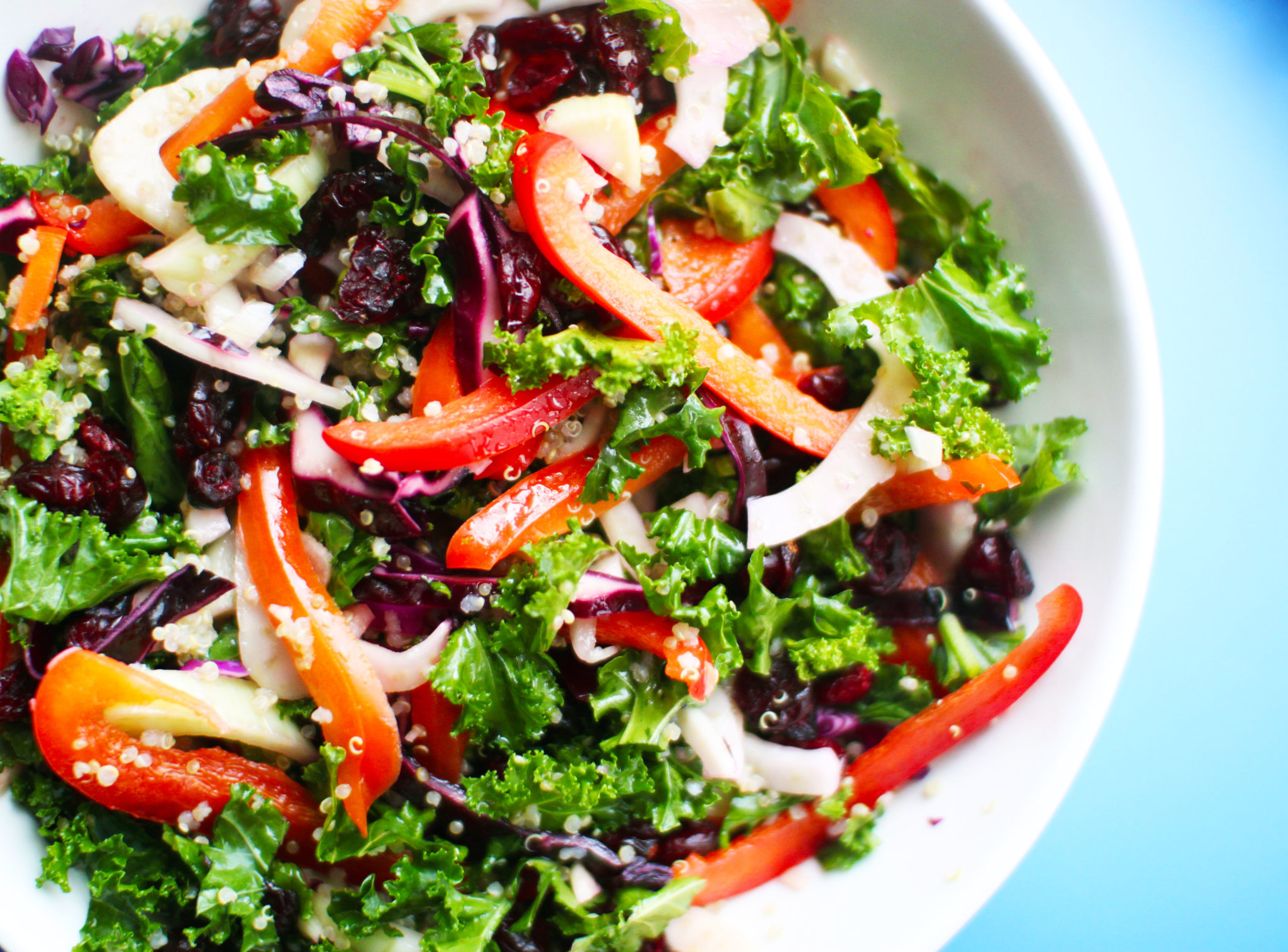 Crunchy Kale Cabbage and Quinoa Salad