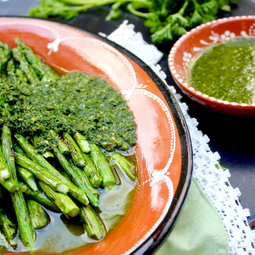 Grilled asparagus with parsley-tarragon chimichurri