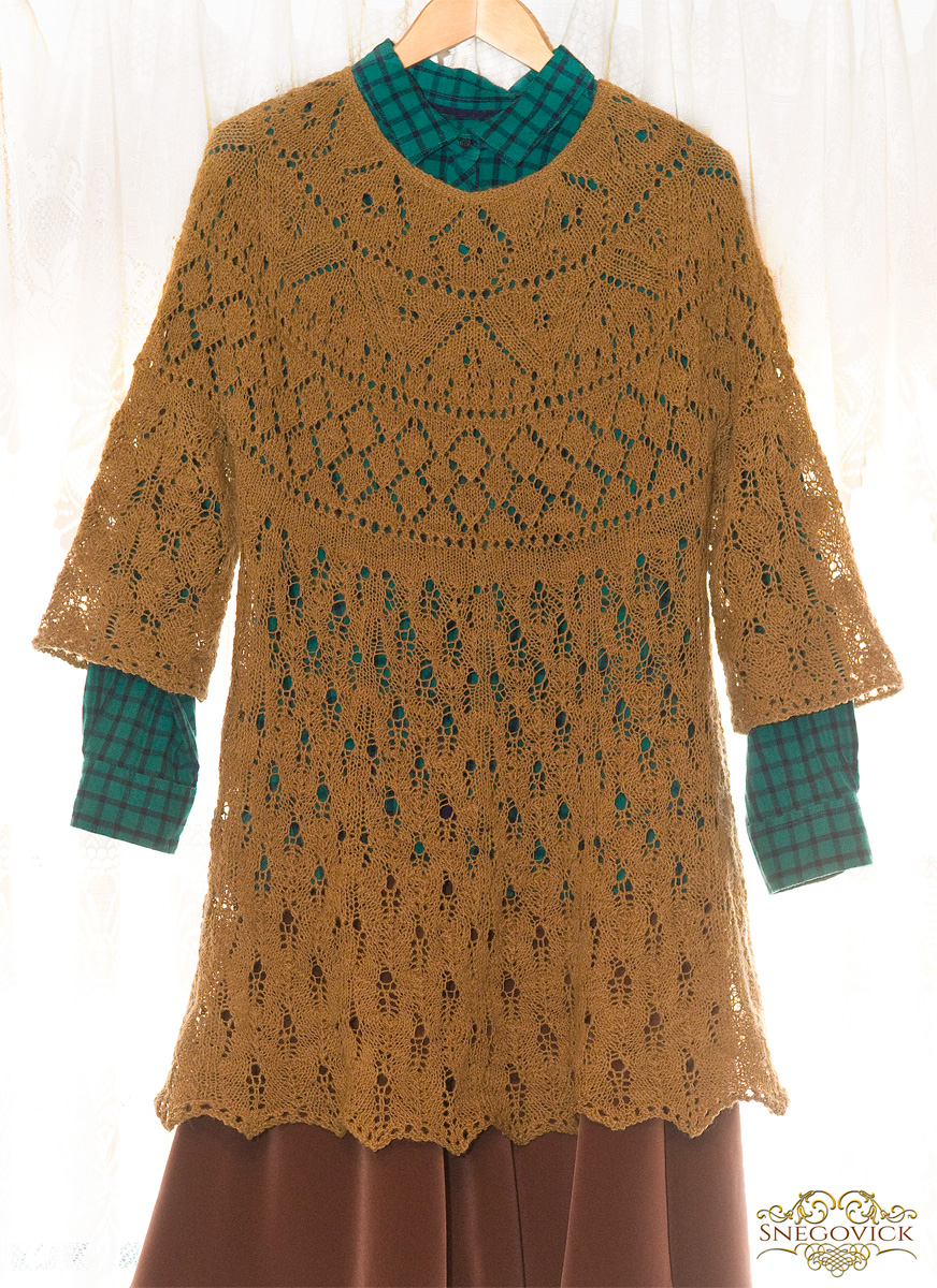 Mixed wool hickory gossamer tunic