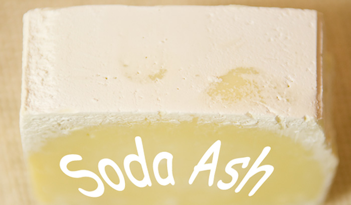 Soda ash on handmade soap