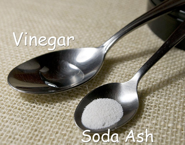 Spoonful of vinegar and washing soda