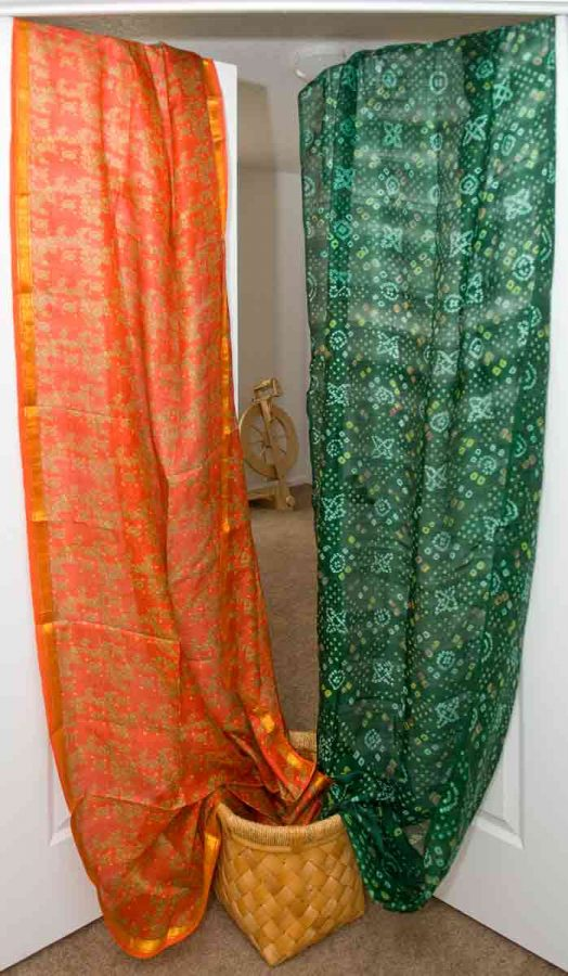 Two Indian silk saris from my stash