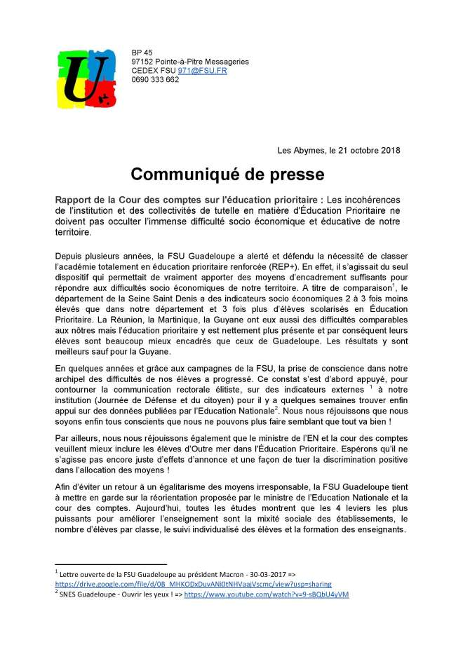thumbnail of Communiqué FSU Education prioritaire 22 octobre 2018