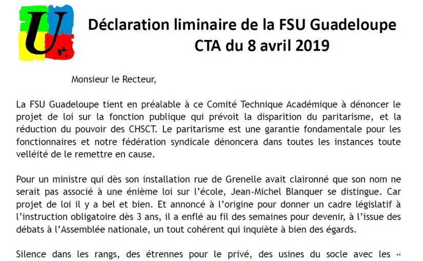 Déclaration liminaire de la FSU Guadeloupe : CTA du 8 avril 2019