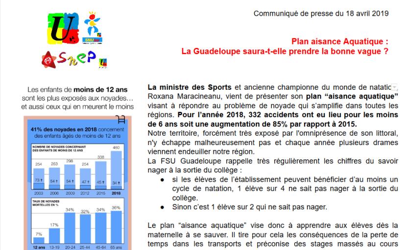 CP Presse FSU : Plan «Aisance Aquatique», La Guadeloupe saura-t-elle prendre la bonne vague ?